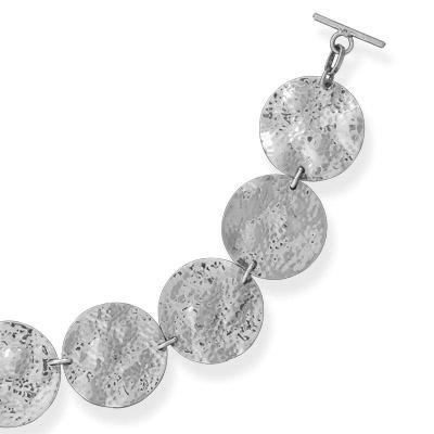 JL Fine Bracelets Collection Hammered Disc Toggle Bracelet in Sterling Silver at Sears.com