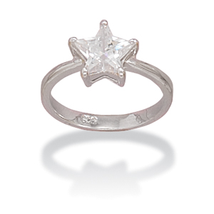 JL Fine Rings Collection Rhodium Plated CZ Solitaire Star Ring in Sterling Silver at Sears.com
