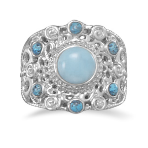 JL Fine Rings Collection Ornate Larimar and Shattuckite Ring in Sterling Silver